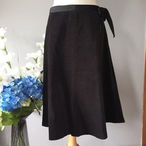 GAP midi velour a-line black skirt 6 party